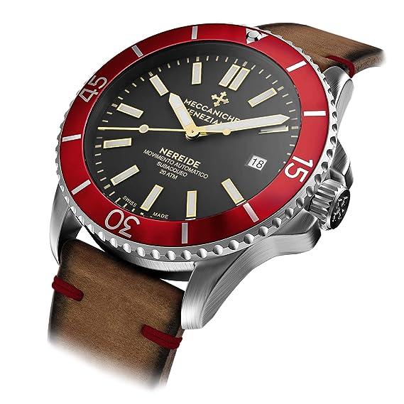 Meccaniche Veneziane Nereide reloj automático suizo hecho para hombres con cuero italiano y correa de silicona