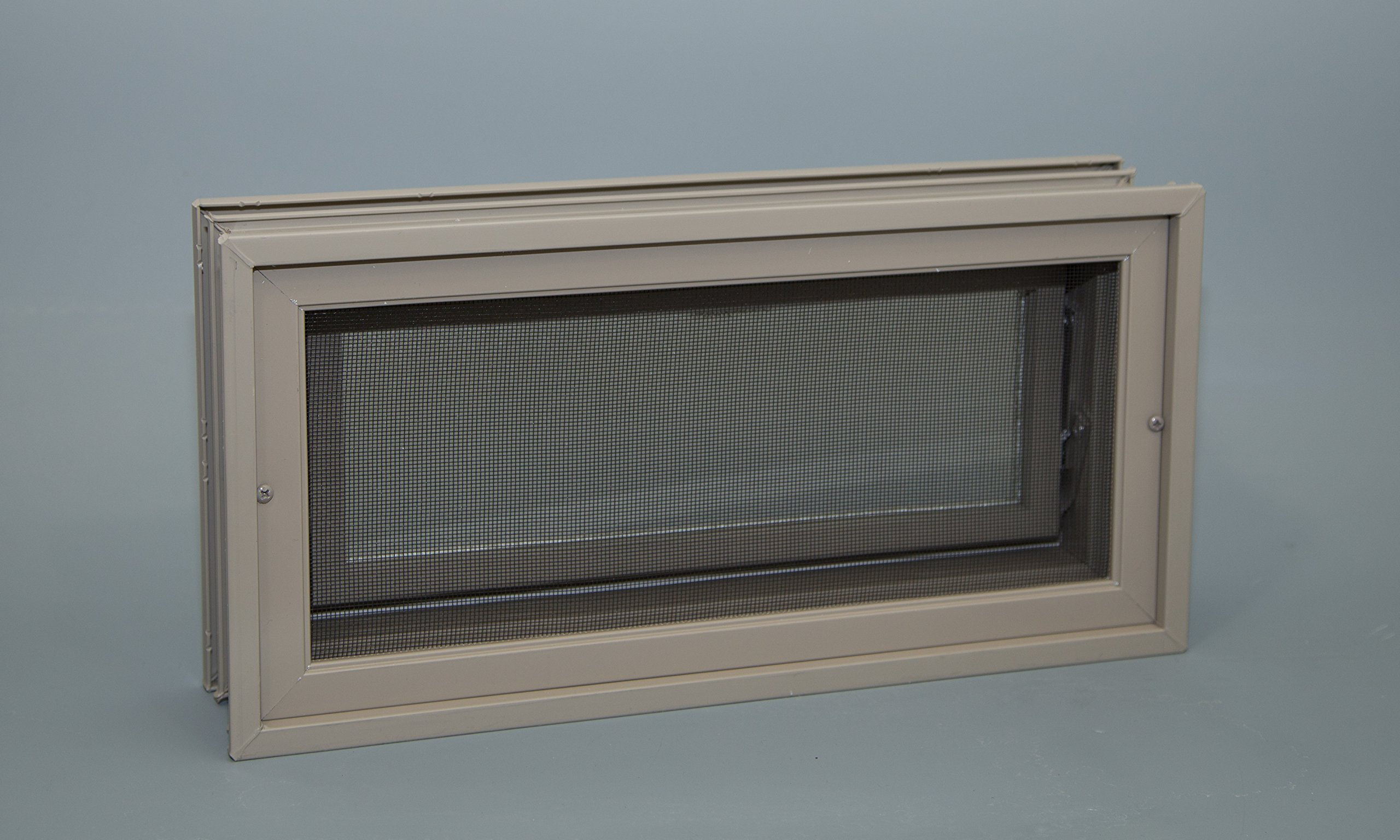 Glass Block Hopper Vent - 16'' W x 8'' H Vinyl Hopper Vent (Clay)