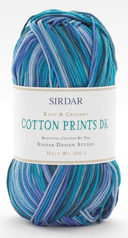 Sirdar Cotton Prints Knitting Yarn DK 350 Making Waves - per 100 gram ball