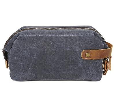 Yanshanmaoyi Men s Clutch Bag Oil Wax Canvas Wash Bag Retro Cosmetic Bag  First Layer Leather Wrist 9aa760feb0703