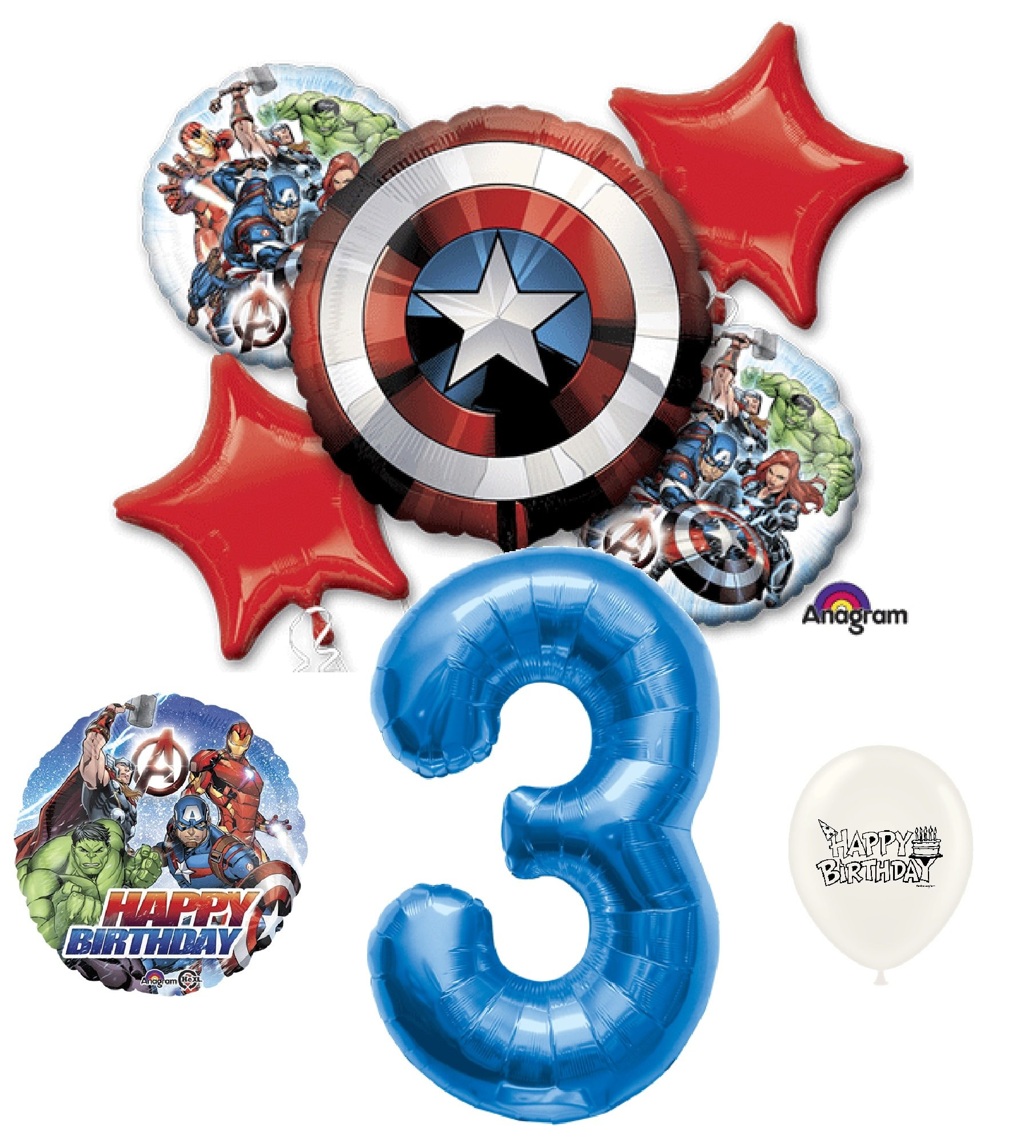 3rd Birthday Blue Number Avengers Captain America Shield Balloons Bouquet Bundle