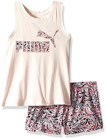 715b5c47be659b Amazon.com  PUMA Little Girls  2 Piece Tee   Mesh Shorts Set  Clothing