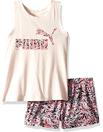 1b9f8e3e74c5 PUMA Little Girls  2 Piece Tee   Mesh Shorts Set
