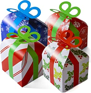 24 Assorted 3D Christmas Gift Boxes Holiday Goodie Paper Boxes Xmas Treats Party Favors - 24 Pack