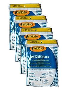 20 Sharp Canister Type PC-2 Vacuum Cleaner Allergy Bags, EC-10PC2, EC-05PC2 EC-PC4, EC-6312P, EC7314P, 6311, EC-63, 7311, EC-73, FX30, FX30, ECFX30, EC7311, EC-PC4, EC-6312P, EC7314P