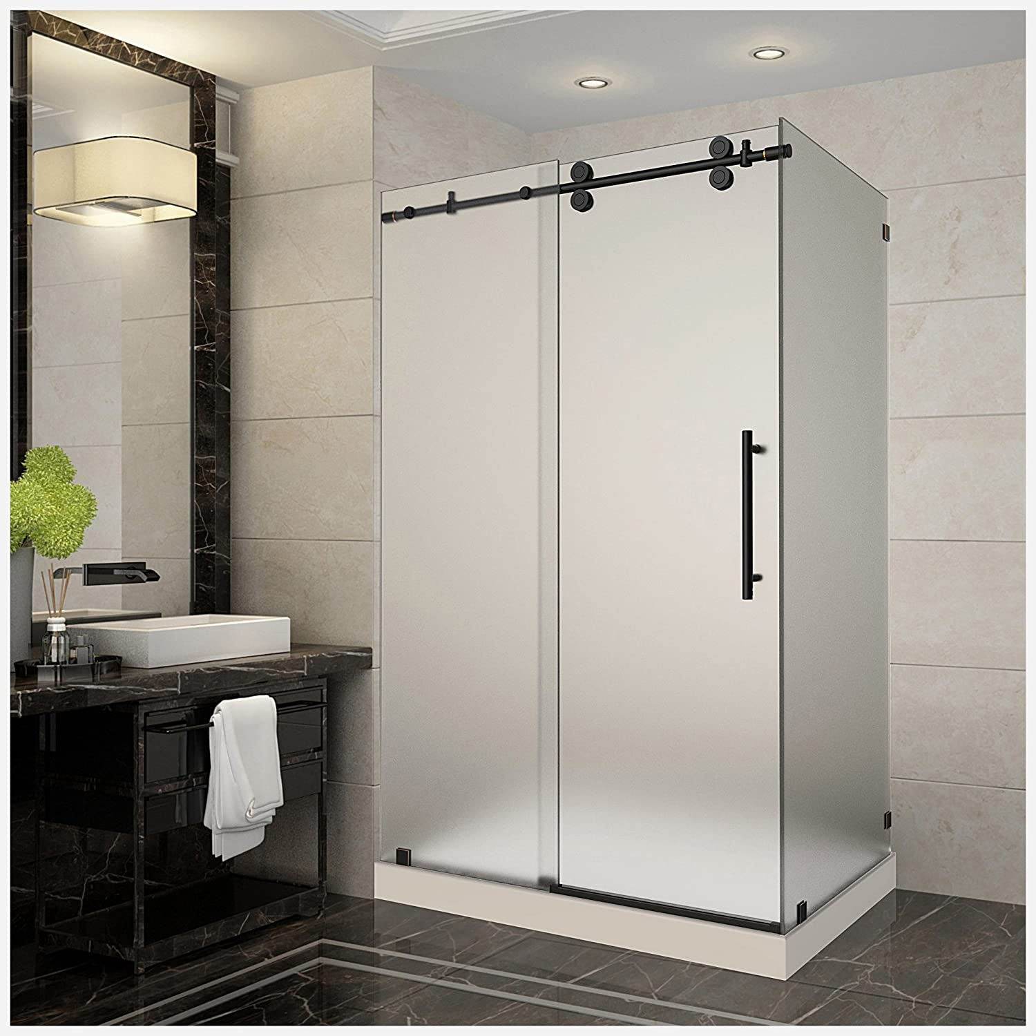 "Aston SEN979F-TR-ORB-48-10-R Langham Completely Frameless Frosted Glass Sliding Shower Enclosure in Oil Rubbed Bronze Finish with Right Base, 48"" x 35"" x 77.5"" good"