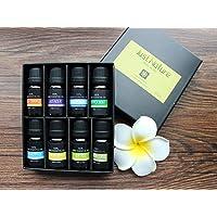 Aceites Esenciales de Aromaterapia - M Muitech Just Nature 100% de Aceite Esencial Natural Para Difusores y Humidificadores en Caja Elegante de Regalo(Lavanda, Árbol de Té, Eucalipto, Hierba de Limón, Naranja, Menta, Romero, Incienso Incluida, 8 x 10 ML)
