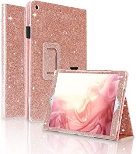 FANSONG iPad 8th Generation Case 10.2 Inch Girls Glitter Sparkle Bling iPad 7 8 Cover 2020 with Pen Slot Stand [Auto Sleep/Wake up] Smart Case Leather Cover for Kids Apple iPad Gen 7th 2019, Rose Gold