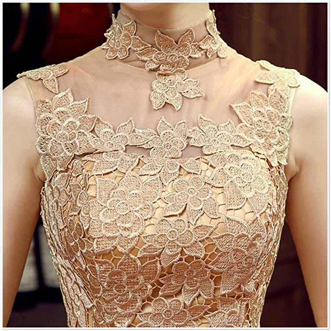 7c90417da879d Fanhao Women's High Neck Floral Lace Short Evening Gown Bridesmaid Dress,  Gold, M at Amazon Women's Clothing store: