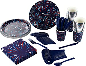 Patriotic Firework Party Bundle with Plates, Napkins, Cups, Cutlery (24 Guests, 144 Pieces)