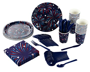 Disposable Dinnerware Set - Serves 24 - Patriotic Party Supplies u2013 for 4th of July  sc 1 st  Amazon.com & Amazon.com: Disposable Dinnerware Set - Serves 24 - Patriotic Party ...