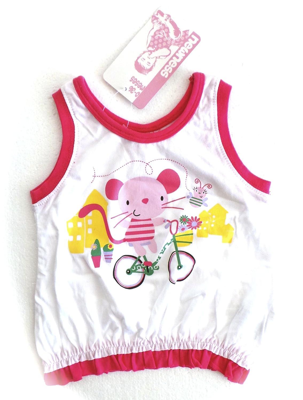 Vêtements Enfant Bébé - Débardeur T-Shirt Blanc Rose - Souris Vélo - 6 Mois Tutti Nen