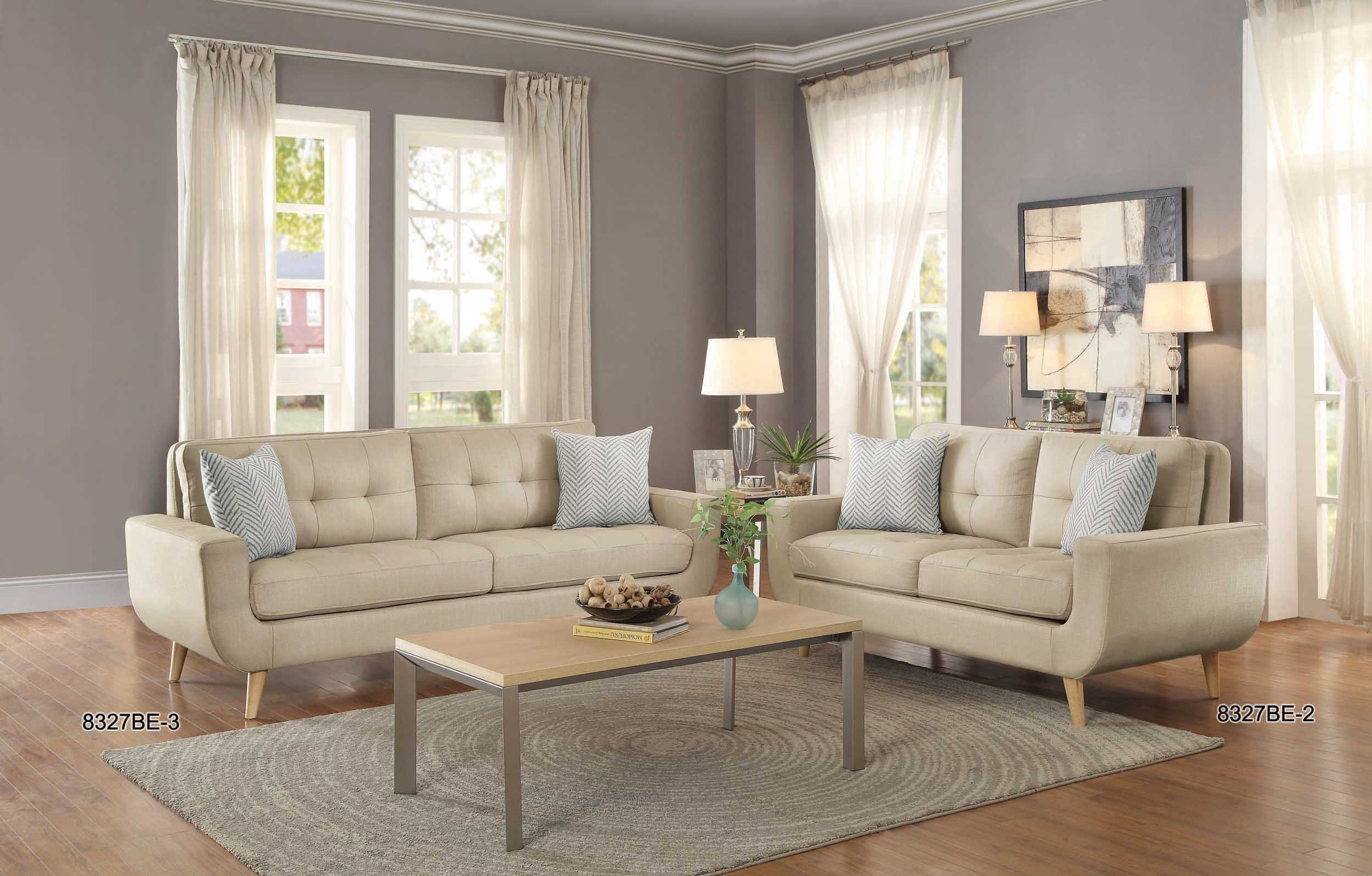 Homelegance Deryn Mid-Century Modern Loveseat with Tufted Back and Two Herringbone Throw Pillows, Beige by Homelegance (Image #4)