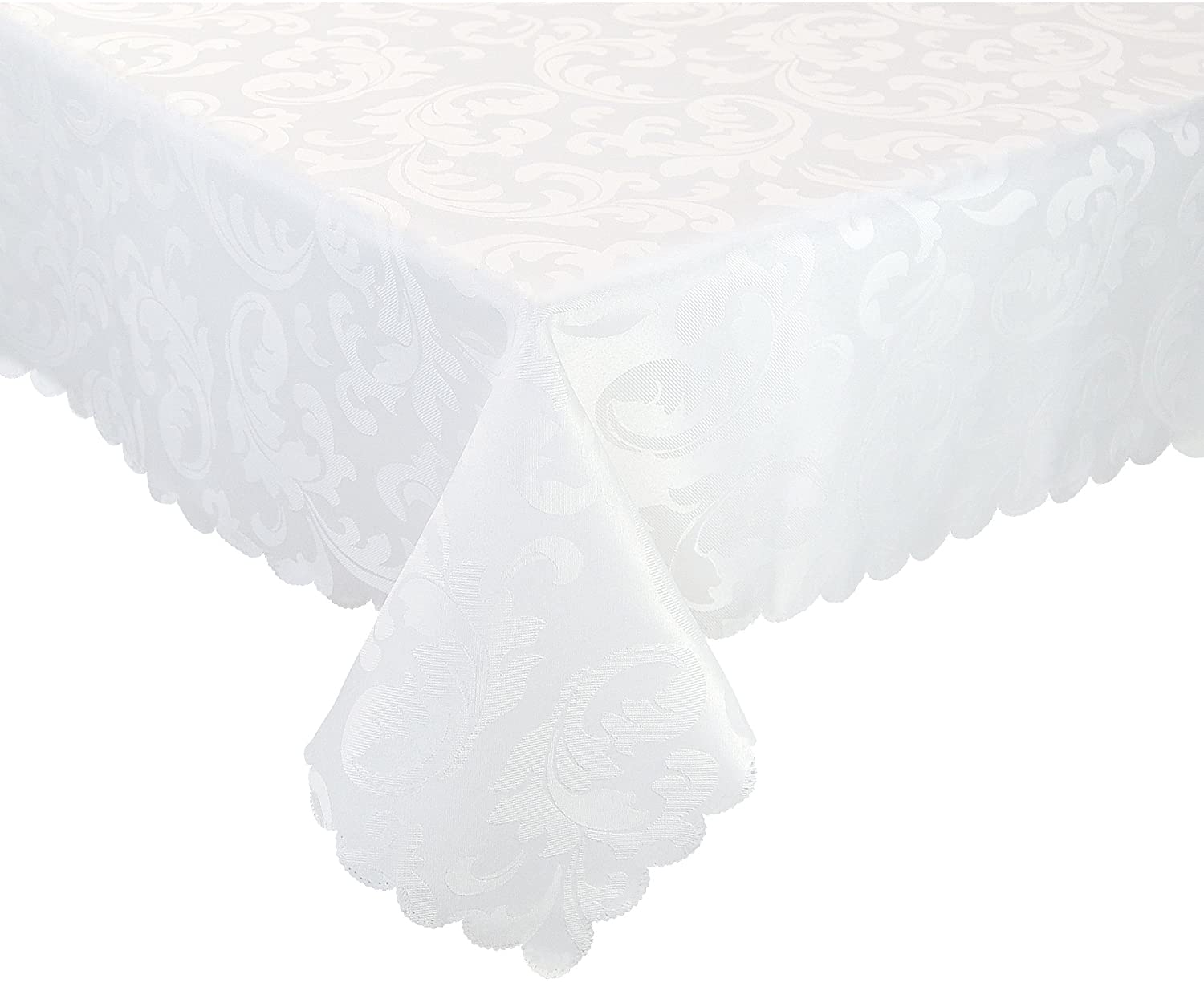 EcoSol Designs Microfiber Damask Tablecloth, Wrinkle-Free & Stain Resistant (60x84, White) Foliate