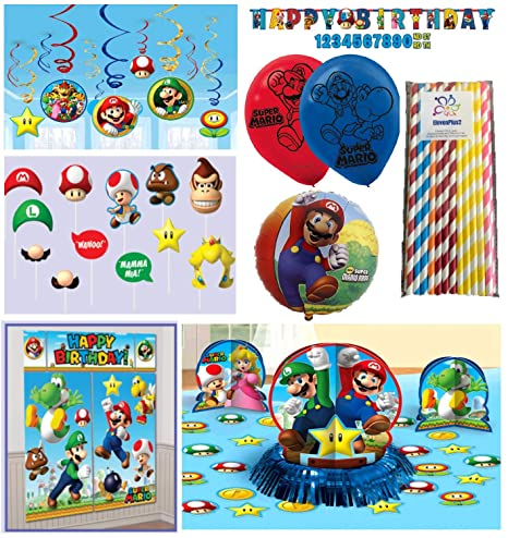Super Mario Bros Birthday Party Package Decorating Kit - Scene Setter with Props, Table Centerpiece, Banner, Balloons and ElevenPlus2 straws