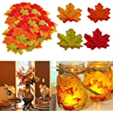 Autumn Decor Leaves, Muscccm 400 Pcs Assorted Mixed Fall Colored Artificial Maple Leaves for Weddings, Thanksgiving, Events and Outdoor Maple Leaf Cafe Decoration