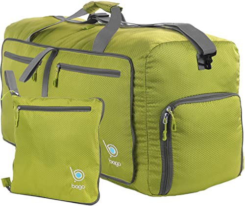 Bago Duffle Bag for Travel Luggage Gym Sport Camping - Lightweight Foldable Into Itself Duffel (Green, Medium 22'')