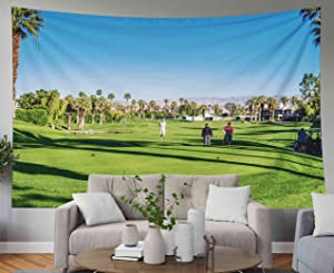Musesh Psychedelic Art Gold Tapestry, Tapestries Wall Hanging for Bedroom Living Room Decor Inhouse Desert CA NOV 14 Golfing at The Golf Courses Marriott Villas Desert Springs on 80x60 Inches Size