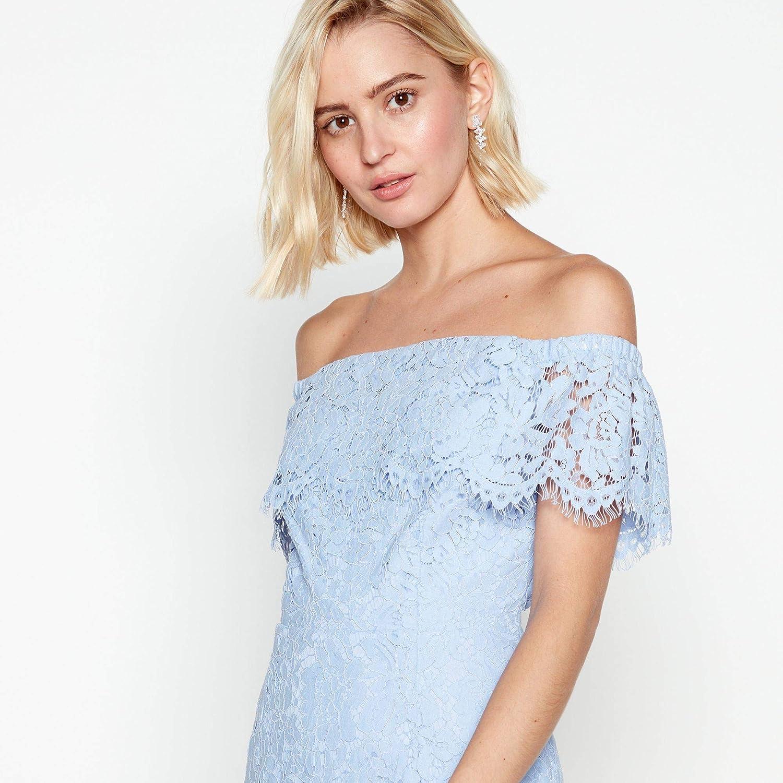 7c492a21575 Debut Womens Blue Floral Lace  Briana  Bardot Midi Dress 12  Debut   Amazon.co.uk  Clothing