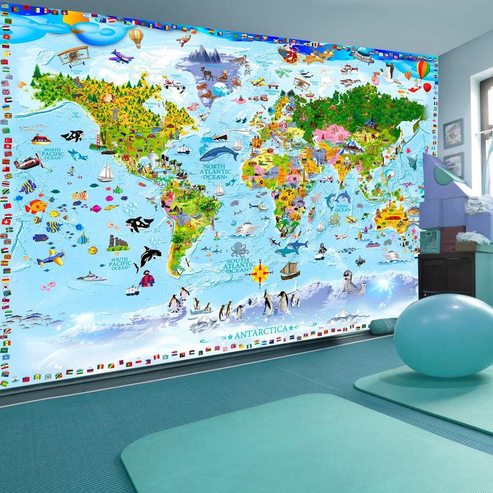 murando Papier peint intiss/é Carte du monde pour enfants 250x175 cm D/écoration Murale XXL Poster Tableaux Muraux Tapisserie Photo Trompe loeil Carte du monde e-A-0102-a-a