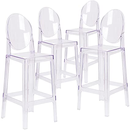 Cool Flash Furniture 4 Pk Ghost Barstool With Oval Back In Transparent Crystal Download Free Architecture Designs Rallybritishbridgeorg