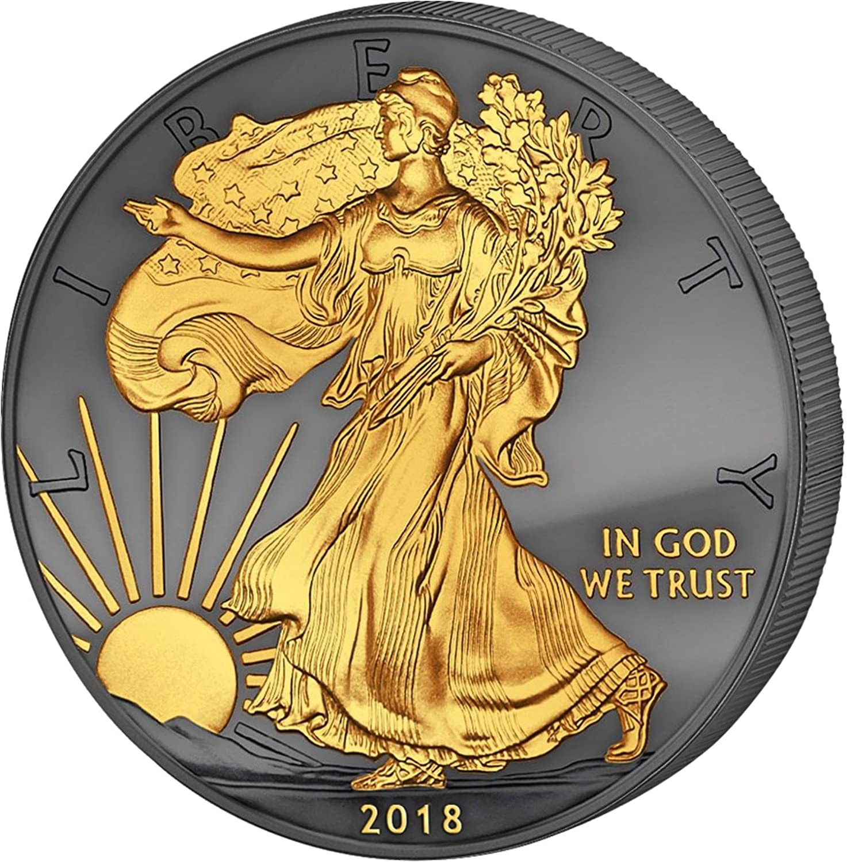 2018 Golden Enigma Walking Liberty silver dollar 24K Gilded $1 Superb Gem Uncirculated