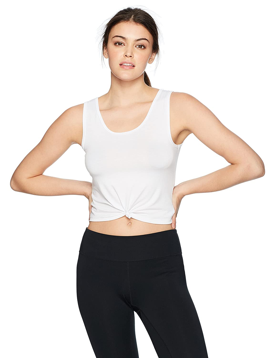 White Onzie Womens Knot Crop Top Yoga Shirt