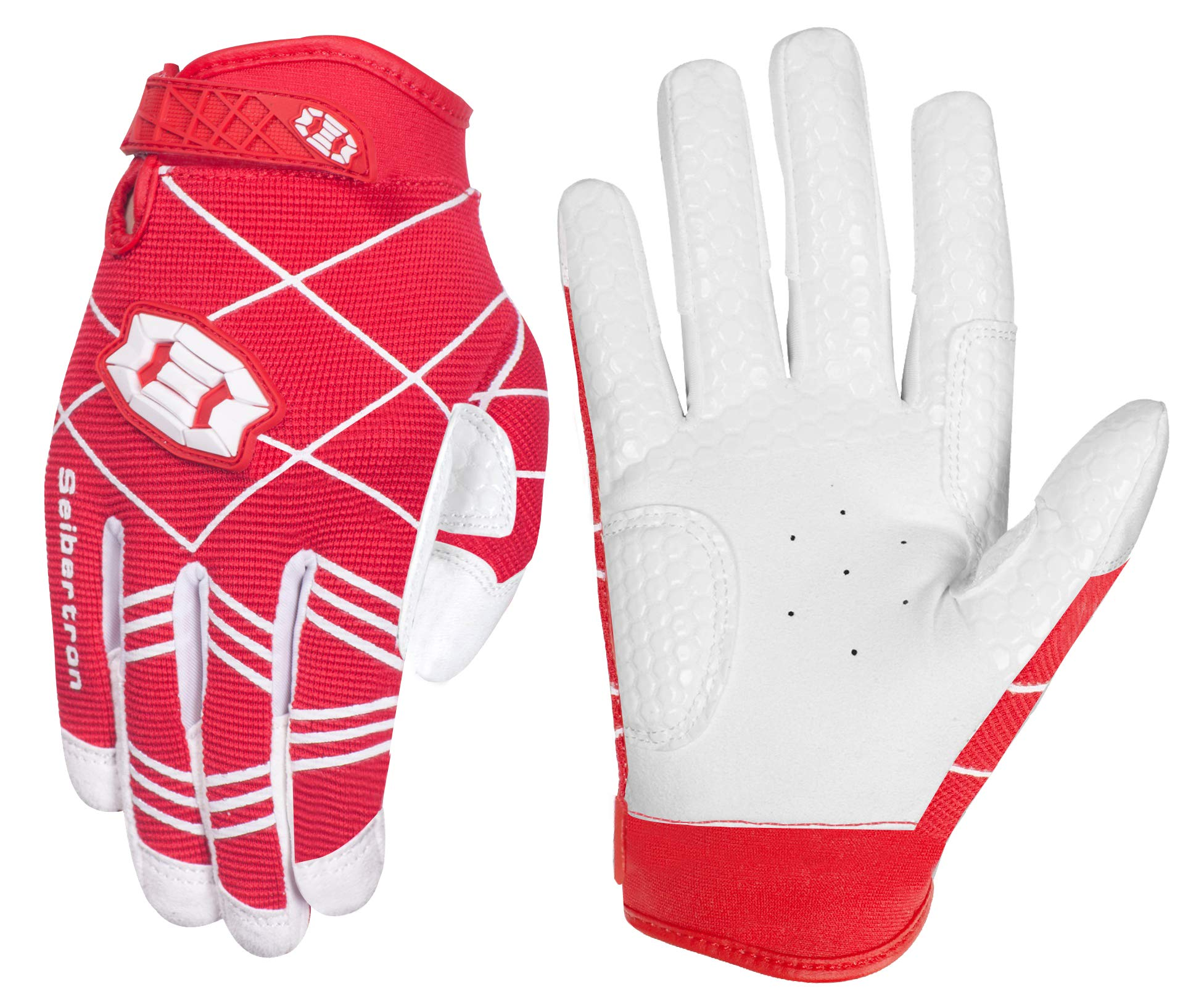 Seibertron B-A-R PRO 2.0 Signature Baseball/Softball Batting Gloves Super Grip Finger Fit for Youth (Red,XS)