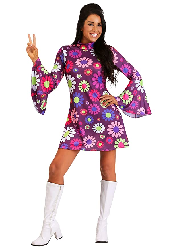 60s Costumes: Hippie, Go Go Dancer, Flower Child, Mod Style Adult Groovy Flower Power Costume  AT vintagedancer.com