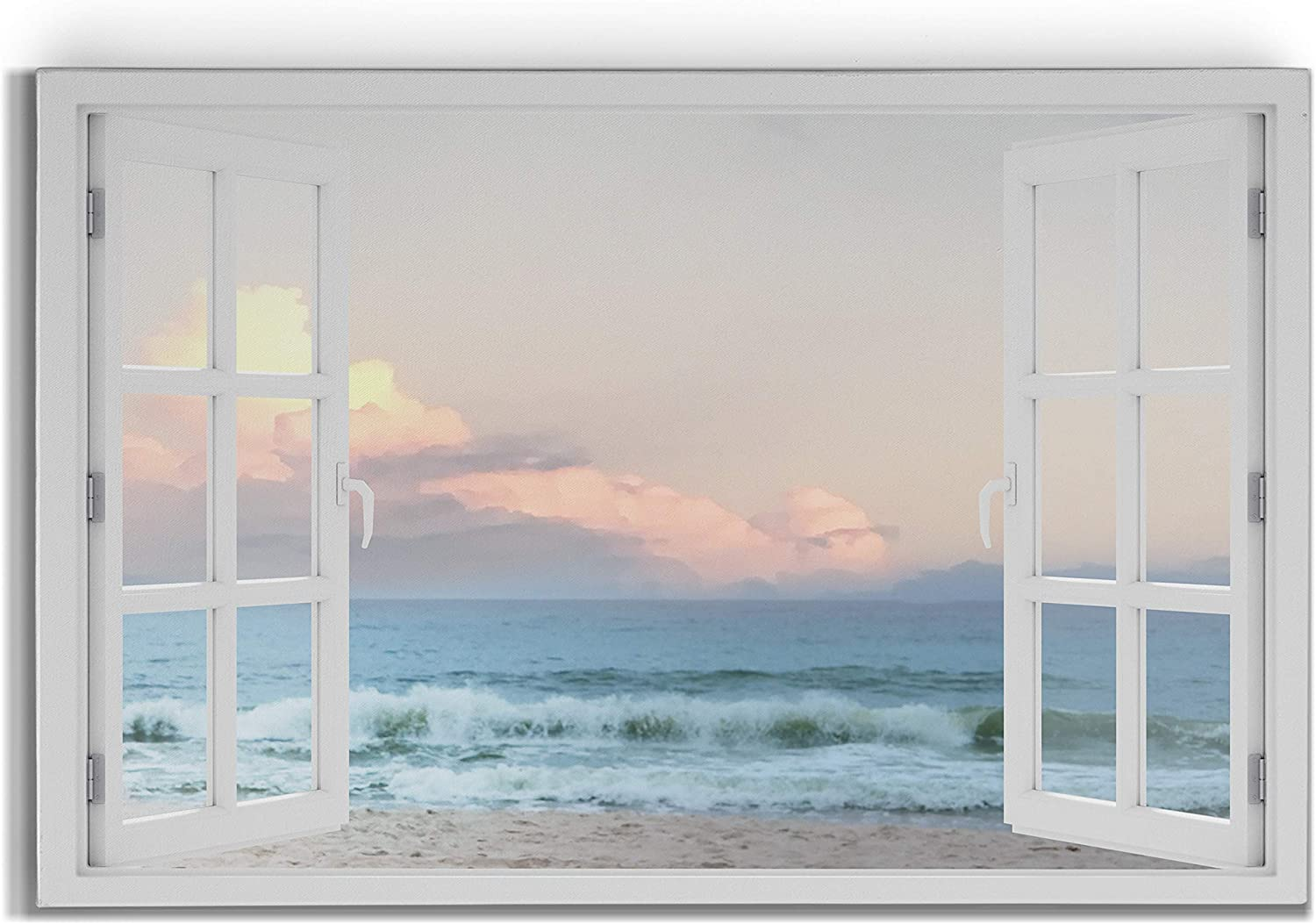 Renditions Gallery White Sand Beach Seascape Open Window Wall Art, Calming Waves and Colorful Clouds, Premium Gallery Wrapped Canvas Decor, Ready to Hang, 12 in H x 18 in W, Made in America Print