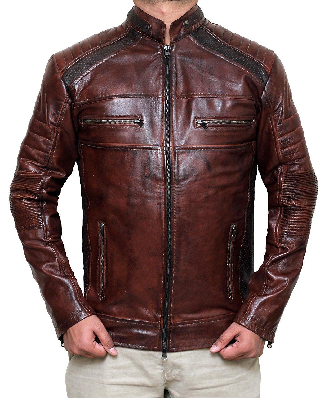 Decrum Mens Distressed Vintage Leather Jacket | Waxed Brown, XL
