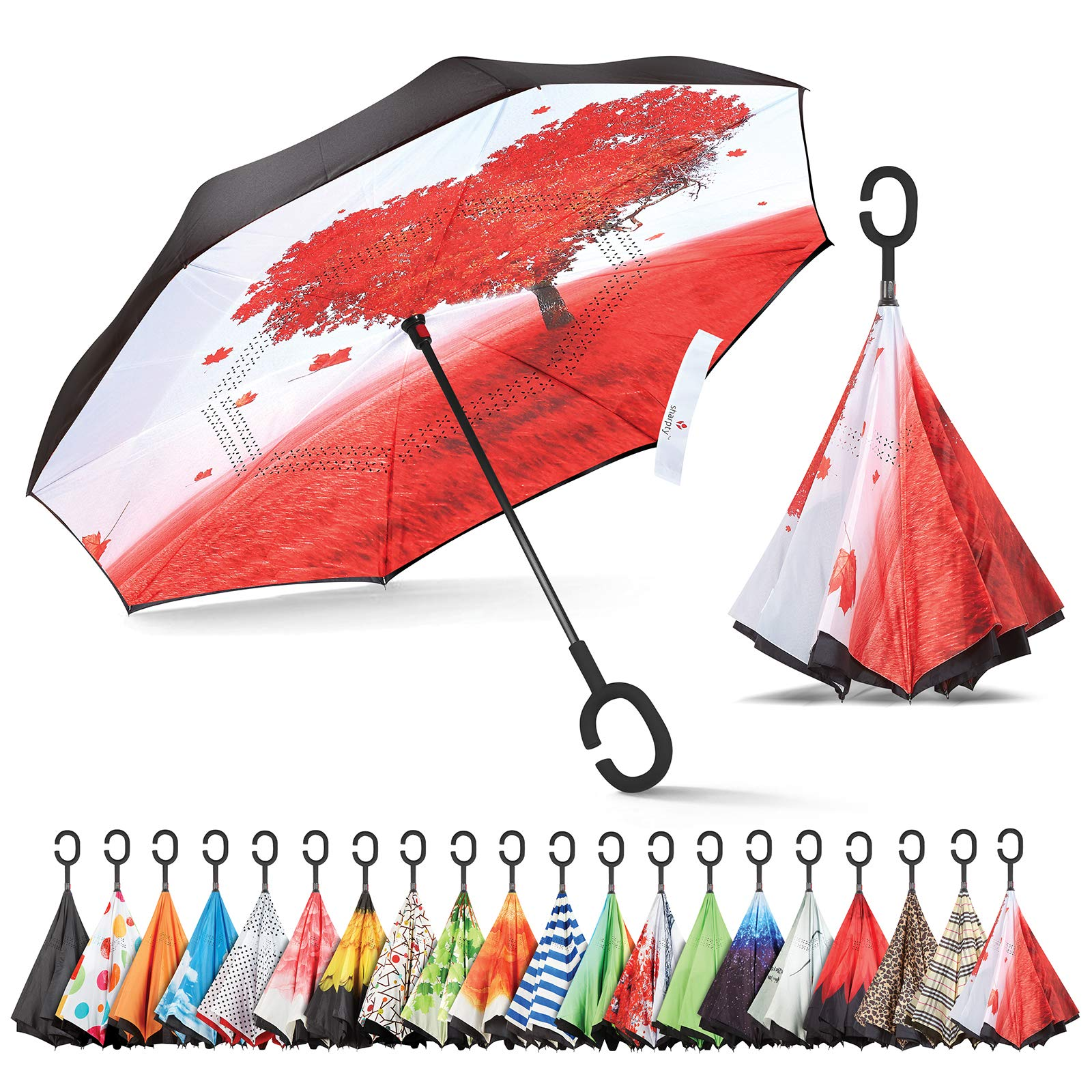 Sharpty Inverted Umbrella, Umbrella Windproof, Reverse Umbrella, Umbrellas for Women with UV Protection, Upside Down Umbrella with C-Shaped Handle (Love Tree)