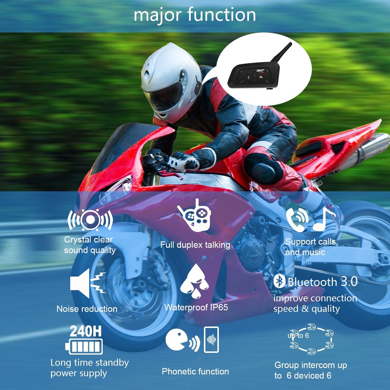 EJEAS Motorcycle Bluetooth Intercom Headset Full Duplex Motorbike Walkie-Talkie Wireless Interphone Helmet 850mAh Waterproof Wireless Headphone 2 Riders Communicator 1000M Dual