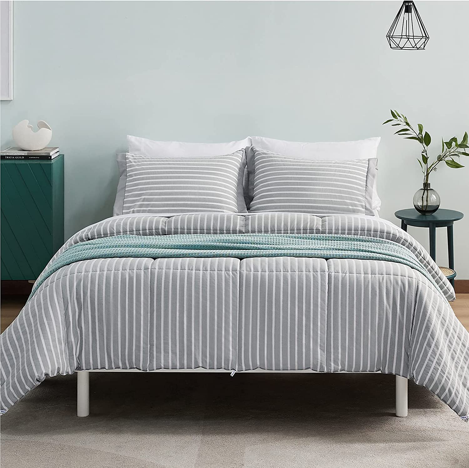 Bedsure King Size Comforter Set - Percale Stripes Down Alternative Grey Comforter Sets Box Stitching Gray Duvet Insert, All Season Bed Set with 2 Pillow Shams (King, 102x90'', 3 Pieces)