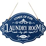 BetyHom 13×9 in Distressed Blue Wooden Laundry Room Wall Decor Sign Self Service Laundry Signs with Hang Rope
