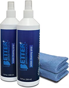 Screen Cleaner Spray Kit, 2 Pack - 2 Spray Bottles (Each 16.9 oz/Total 33.8 oz) with 2 Extra-Large Microfiber Cleaning Towels, by Better Office Products, for Computers, iPhones, TV/LED/LCD Screens
