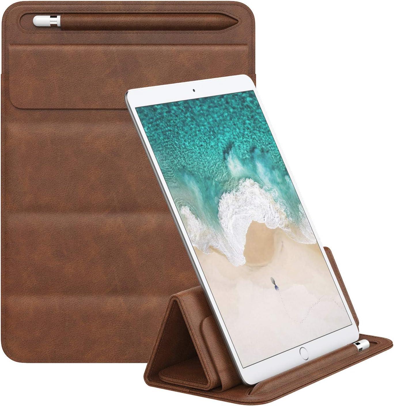 iPad Air 3 10.5 iPad Pro 10.5//9.7 Inch iPad Air 2 MoKo 9-11 Inch iPad Sleeve Case iPad 9.7 6th Generation iPad Pro 11 PU Leather Trifold Stand Case with Pen Holder Fits iPad 10.2 2019 Brown