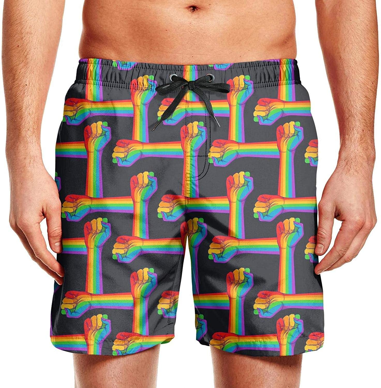 smsdpmc Hand Fist Raised Up Gay Rights Rainbow Colors Mens Swim Shorts Mens Board Shorts Printed Athletic Shorts