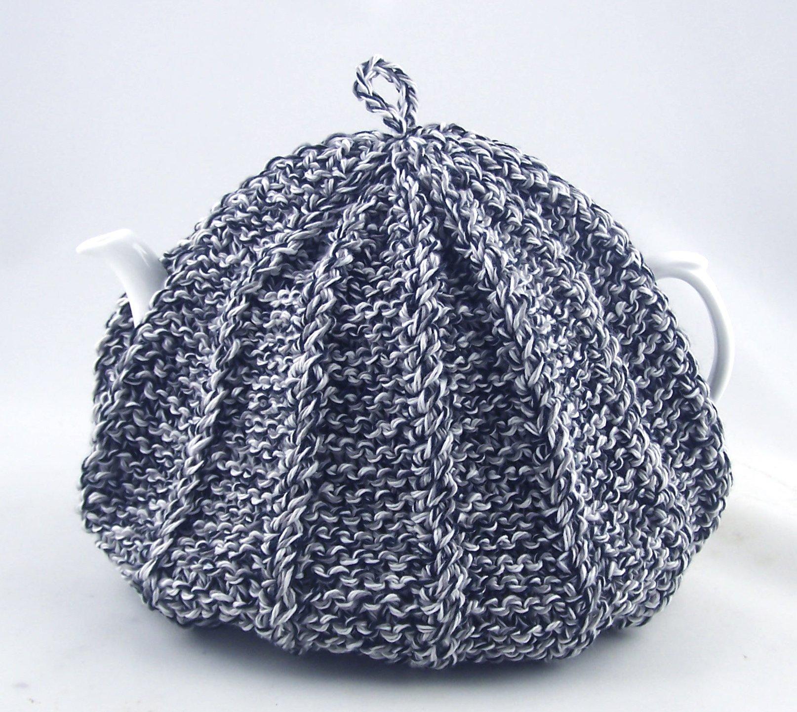 Knit Tea Cozy Cosy Handmade Washable Black, Grey, Gray and White