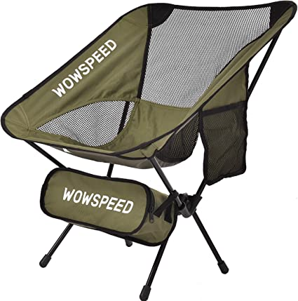 Picnic Hiking Travel Ultralight Folding Camping Chair with Anti-Sinking Wide Feet Beach Army Green Lightweight Backpacking Portable Compact for Outdoor Camp