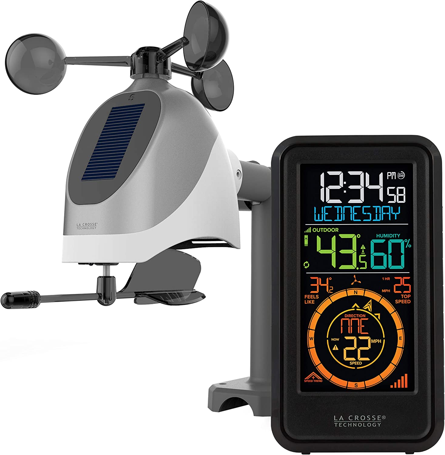 La Crosse Technology S81120-INT Wireless Combo Weather Station with New Breeze Solar Wind Sensor, Black