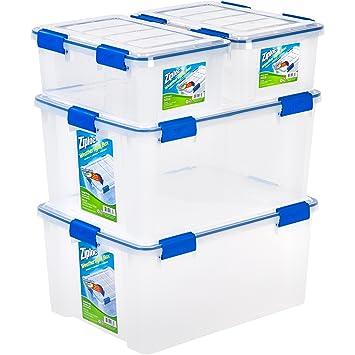 Ziploc 4 Piece Extra Small/Large Deep Weathertight Storage Box Container Set