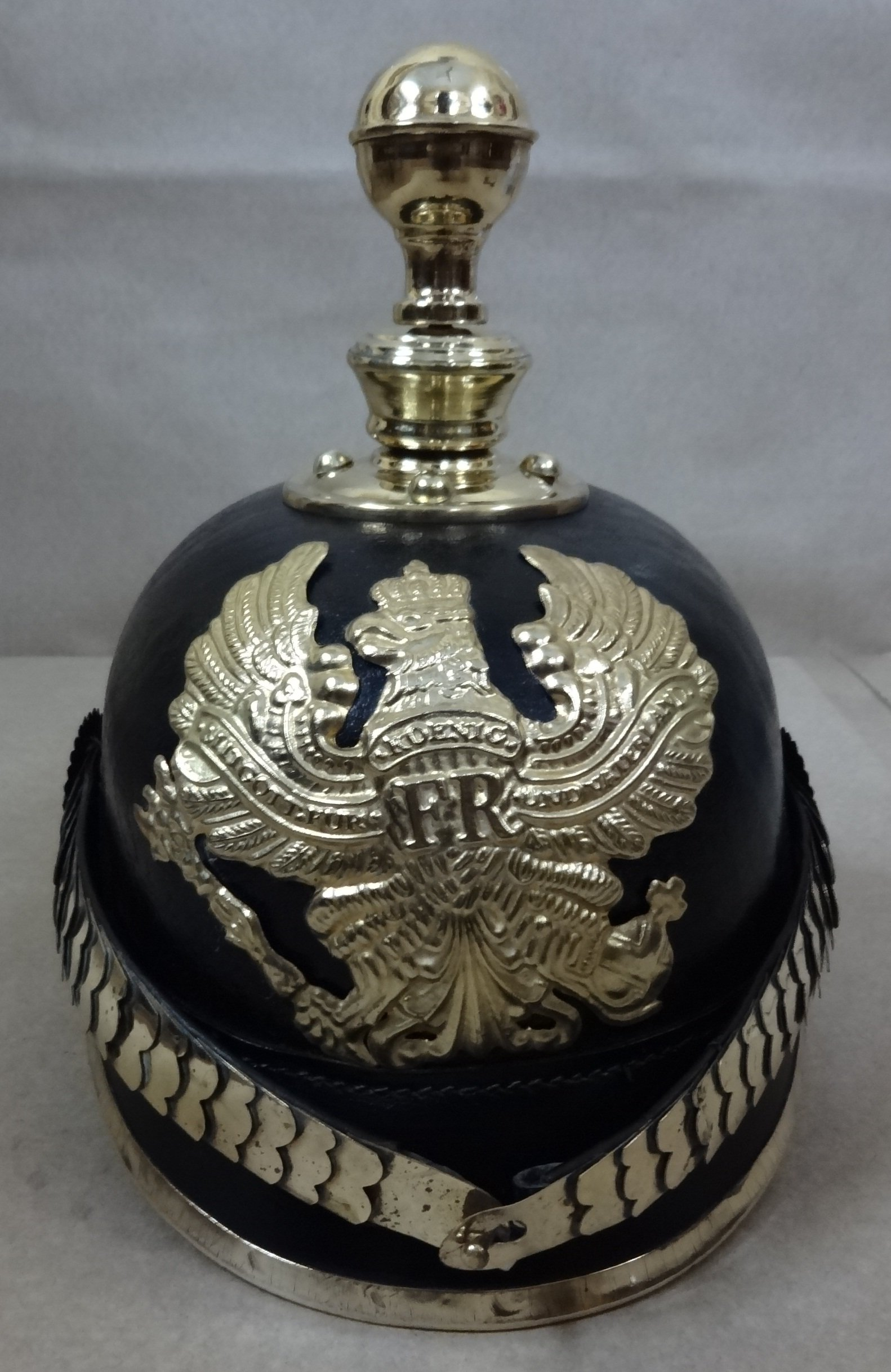 German Prussian Officer Pickelhaube Leather Helmet : Prussian Artillery - Black Leather & Brass by warreplica