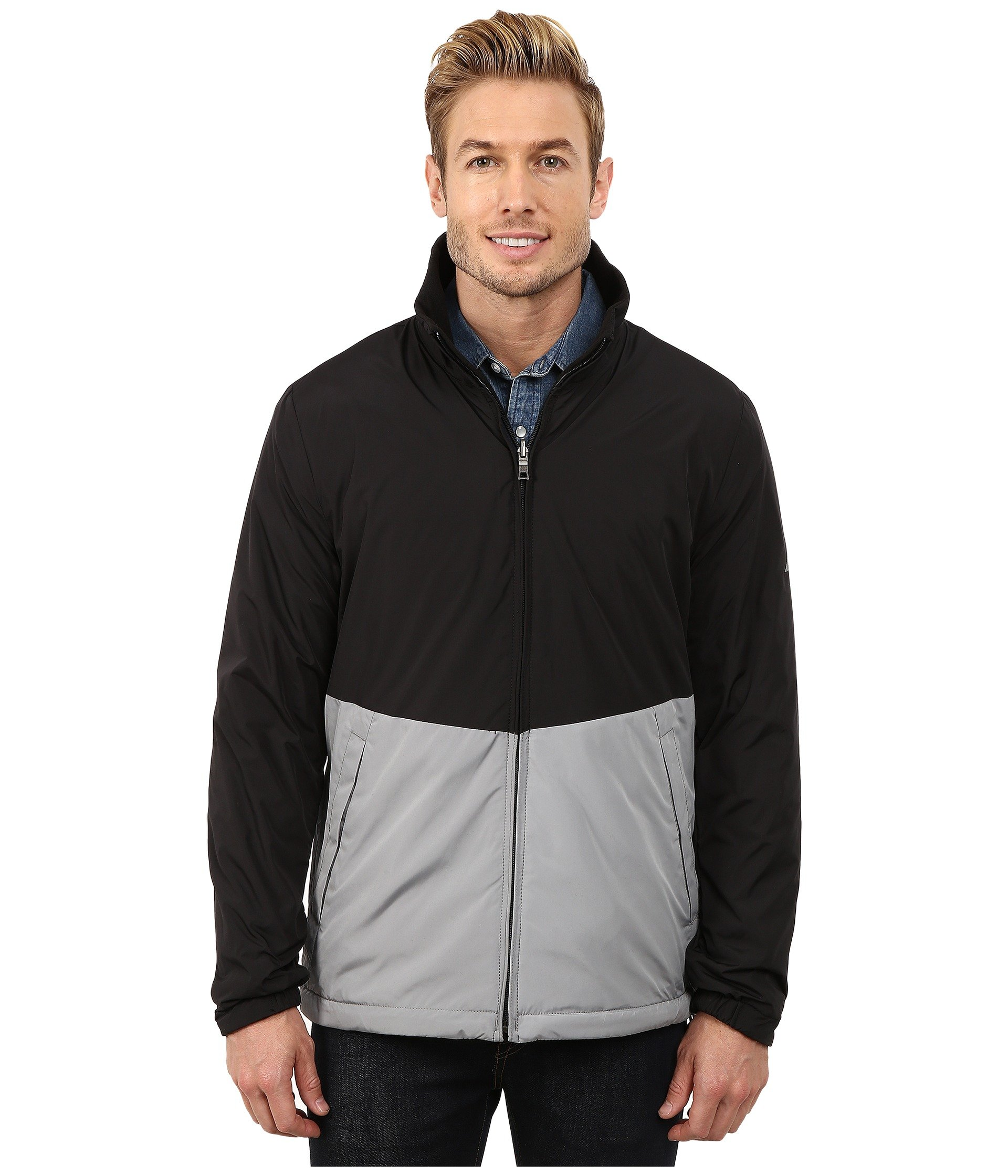 Nautica Men's Big-Tall Reversible Bomber Jacket Big/Tall, Radial Grey, 2X-Large/Tall