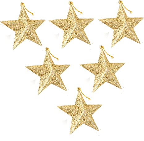 6 Pack Of Christmas Tree Decorations Star Hanging Ornaments Gold Glitter Stars Festive Embellishments Gold 3 5 Inches Home Kitchen