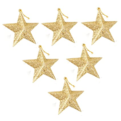 35 christmas tree hanging gold glitter star decorations ornaments - Christmas Star Decorations