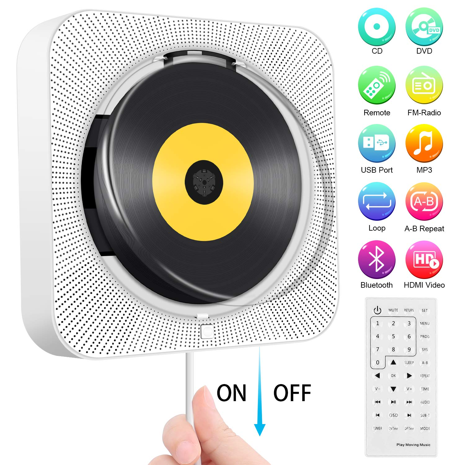 Portable DVD/CD Player, Wall Mountable Bluetooth CD DVD Player HDMI Built-in HiFi Speakers with Remote for TV, Music Player Support FM Radio USB Playing SD Card AV Jack 3.5mm Headphone Jack for kids