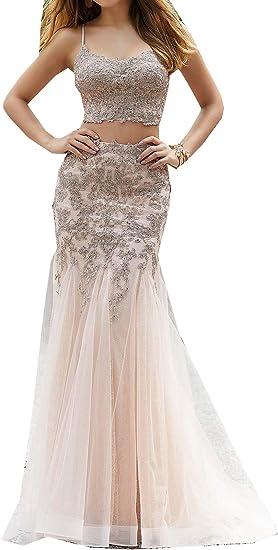 Engerla Bridal Women S Two Piece Applique Prom Dress 2020 Lace Halter Hollow Prom Dresses Amazon Ca Clothing Accessories,Beach Cocktail Dress Wedding