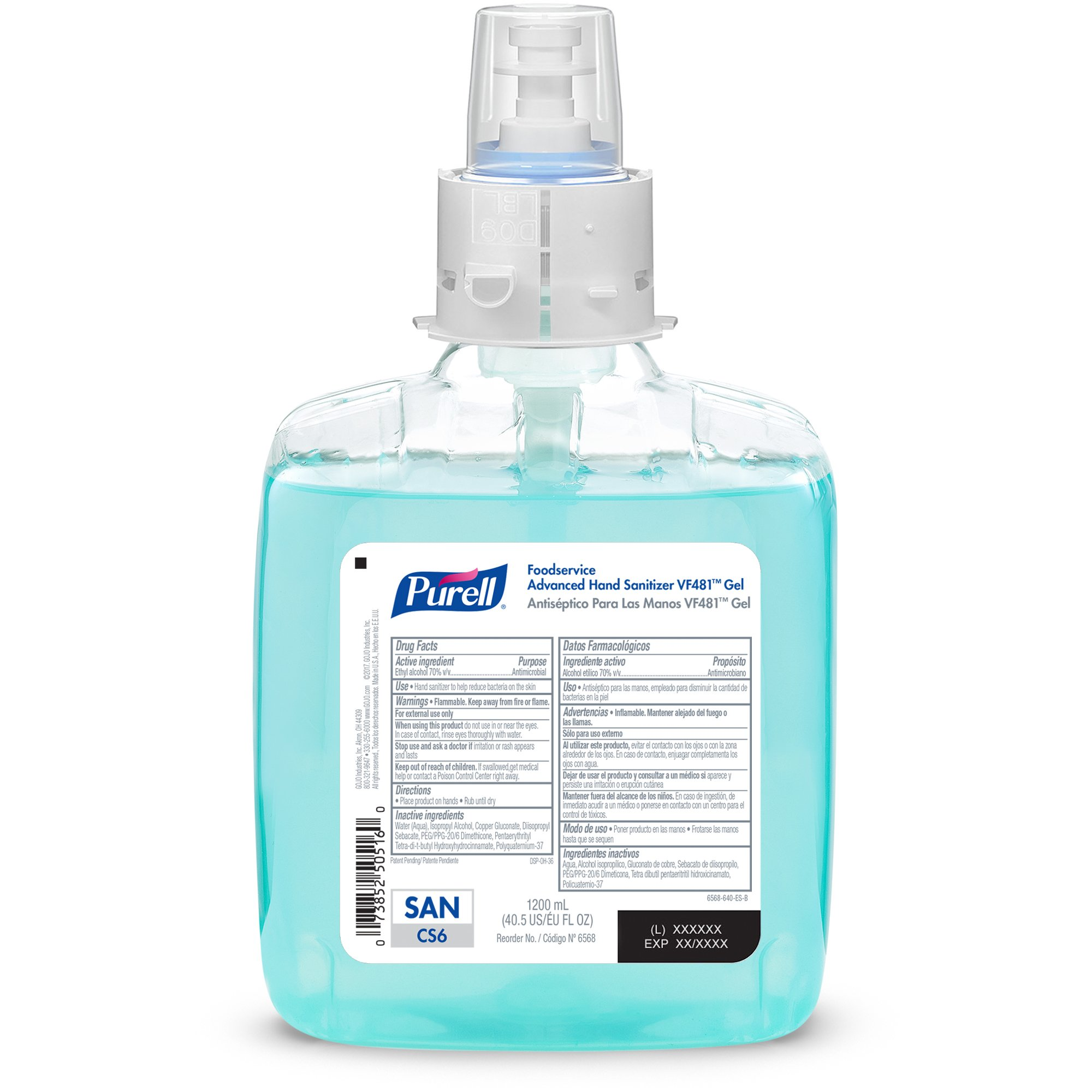PURELL CS6 Foodservice Advanced Hand Sanitizer VF481 Gel, Fragrance Free, 1200 mL Sanitizer Refill for PURELL CS6 Touch-Free Dispenser (Pack of 2) - 6568-02