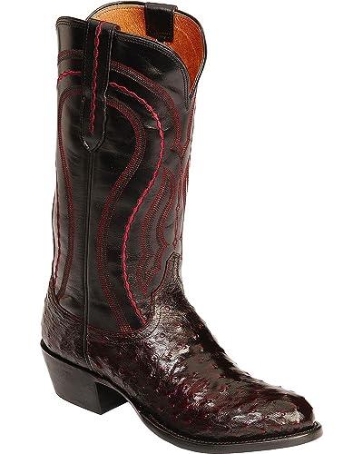 19cfbdcb1e4 Lucchese Men's Handmade 1883 Full Quill Ostrich Montana Cowboy Boot Medium  Toe Black Cherry 10 EE US